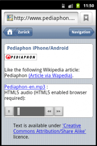Pediaphon HTML5 audio, iWebkit touch interface.